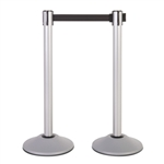 Premium Retractable Belt Stanchion - Silver powder coated steel post with 15lb base & 7.5' black belt (2 pack)