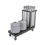 Kit: Premium Retractable Belt Stanchion - Silver powder coated steel post with 15lb base & 7.5' black belt  (12 PACK) with Cart