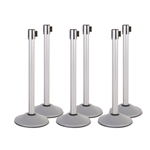 Kit: Premium Retractable Belt Stanchion - Silver powder coated steel post with 15lb base & 7.5' black belt (6 PACK)