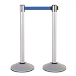 Premium Retractable Belt Stanchion - Silver powder coated steel post with 15lb base & 7.5' blue belt (2 pack)