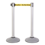 "Premium Retractable Belt Stanchion - Silver powder coated steel post with 15lb base & 7.5' ""Caution - Do Not Enter"" belt (2 pack)"