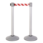 Premium Retractable Belt Stanchion - Silver powder coated steel post with 15lb base & 7.5' danger red/white chevron belt (2 pack)