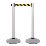 Premium Retractable Belt Stanchion - Silver powder coated steel post with 15lb base & 7.5' safety yellow/black chevron belt (2 pack)