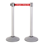 "Premium Retractable Belt Stanchion - Silver powder coated steel post with 15lb base & 7.5' ""Danger - Keep Out"" belt (2 pack)"
