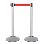Premium Retractable Belt Stanchion - Silver powder coated steel post with 15lb base & 7.5' red belt (2 pack)