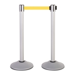 Premium Retractable Belt Stanchion - Silver powder coated steel post with 15lb base & 7.5' yellow belt (2 pack)