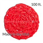 "Chainboss RED Plastic Safety 2"" Chain UV Resistant - 100ft box"