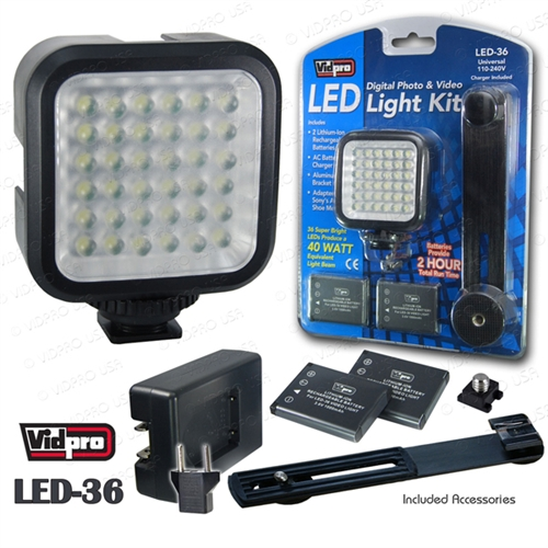 Vidpro Led Light Kit With 2 Batteries Plus Charger
