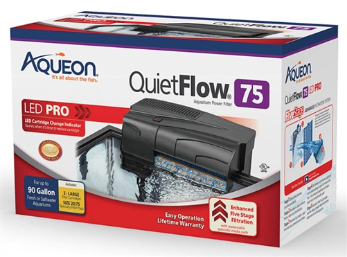 Aqueon QuietFlow LED PRO Aquarium Power Filters, 75