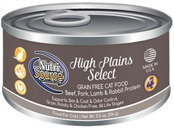 Tuffy's Pet Nutri-Source Grain Free High Plains Select  Wet Food Canned Cat Food