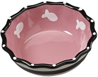 Ethical Pet Contemporary Ruffle Cat Dish Pink 5 inch