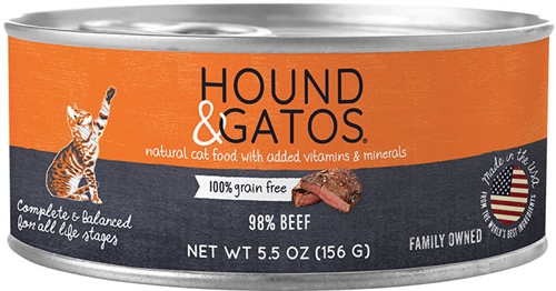 Hound & Gatos Beef Recipe for Cats  24-5.5 oz cans