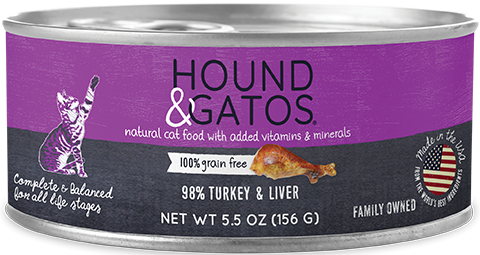 Hound & Gatos Turkey & Turkey Liver Cat Food Recipe for Cats 24-5.5 oz