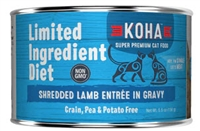 KOHA Limited Ingredient Diet Shredded Lamb Entree in Gravy for cats 24-5.5 oz cans