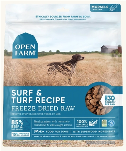 Open Farm Surf and Turf Recipe - Freeze Dried Raw Grain Free Dog Food 13.5OZ
