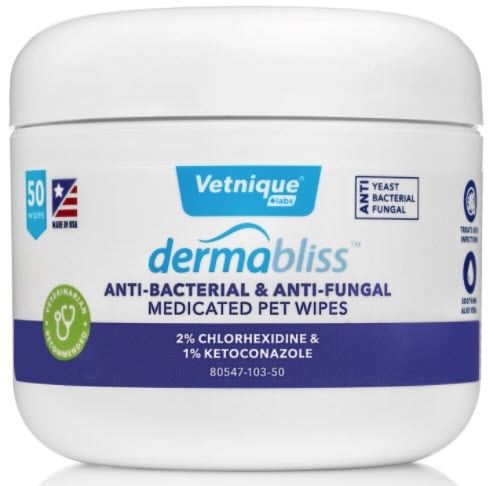 VETNIQUE LABS Dermabliss Anti-Bacterial & Anti-Fungal Wipes - 50 ct