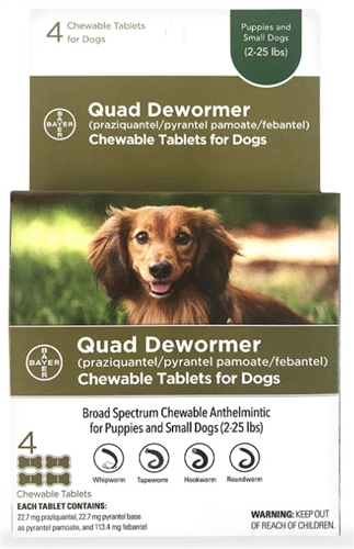 Bayer Quad Dewormer for Puppies & Small Dogs.  4 tablets