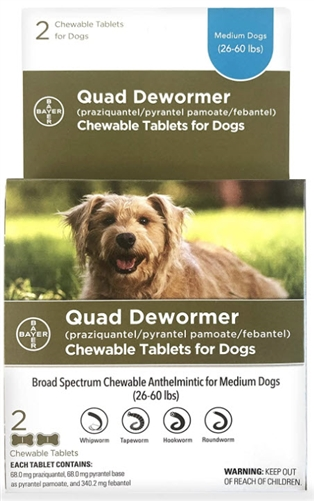 Bayer Quad Dewormer for medium Dogs 2 Chewable tablets
