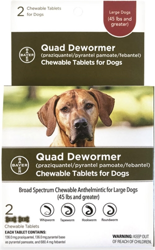 Bayer Quad Dewormer for Large Dogs 2 Chewable tablets