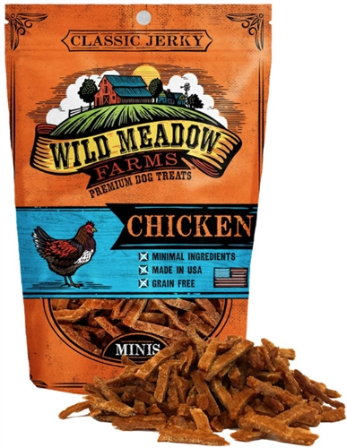 Wild Meadow Farms Classic Jerky Chicken Mini Treats for Dogs 4 oz