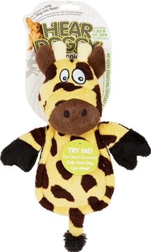 HEAR DOGGY! Mini Flattie Giraffe with Chew Guard and Silent Squeak Technology  Dog Toy