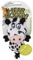 HEAR DOGGY! Mini Flattie Cow with Chew Guard and Silent Squeak Technology Dog Toy