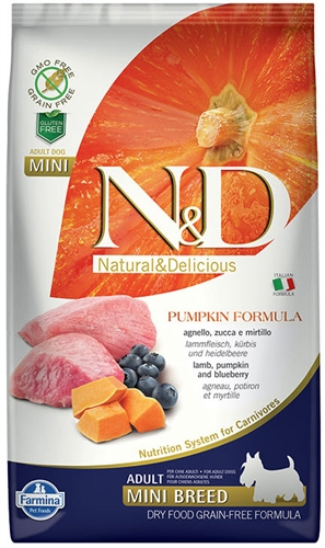 Farmina Natural & Delicious Grain-Free Pumpkin LAMB & BLUEBERRY ADULT MINI 15.4 LB
