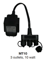 EASYPRO MT10 - 10 Watt Transformer - 120 volt to 12 volt - with 3 quick connects