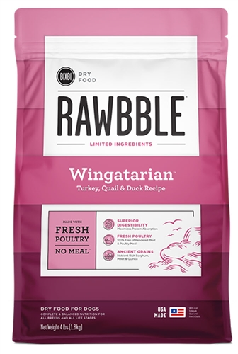 BIXBI PET RAWBBLE WINGATARIAN (TURKEY, QUAIL & DUCK) Kibble for Dogs, 4 LB