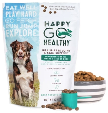 Happy Go Healthy Dog Joint & Skin Support Supplement 12 oz