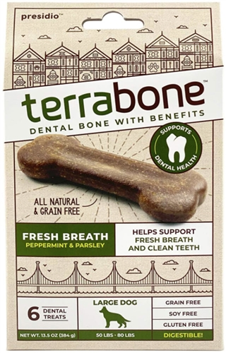 Terräbone Terra Fresh Breath Dog Chew  Large 6 Count