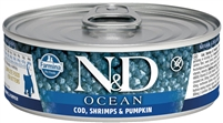 Farmina Natural & Delicious Ocean Feline Cod, Shrimp & Pumpkin for Kittens Cans 12 - 2.8 OZ