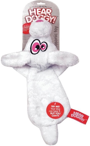 HEAR DOGGY! Mini Flattie Rabbit with Chew Guard and Silent Squeak Technology  Dog Toy