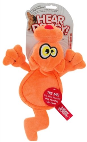 HEAR DOGGY! Flat Orange Cat with Chew Guard and Silent Squeak Technology Large Dog Toy