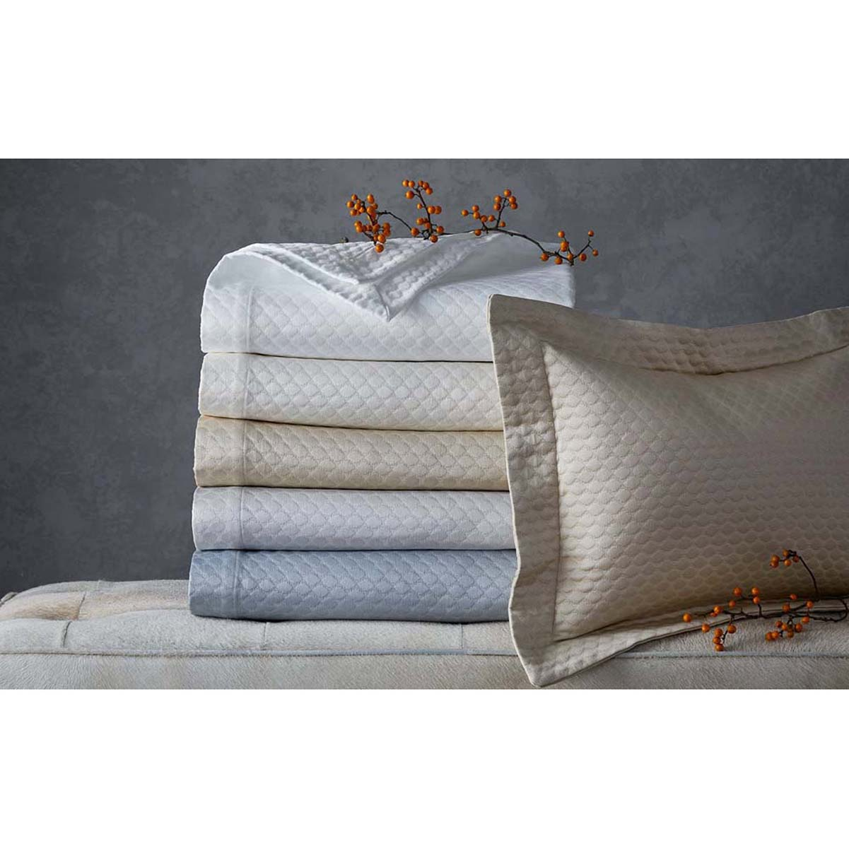 Elegant Pearl Luxury Bed Linens By Matouk