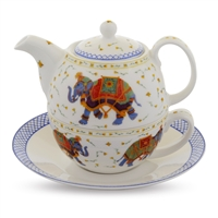 Ceremonial Indian Elephant White Fine Bone China Tea for One by Halcyon Days