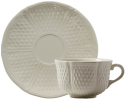 Pont Aux Choux White Breakfast Cups and Saucers (Set of 2) by Gien France
