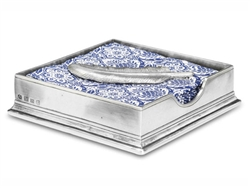 Luncheon Napkin Box with Feather by Match Pewter