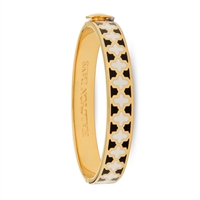 Agama Black, Cream & Gold Hinged Bangle by Halcyon Days