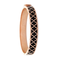 Agama Black & Rose Gold Hinged Bangle by Halcyon Days