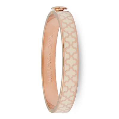 Agama Cream & Rose Gold Hinged Bangle by Halcyon Days