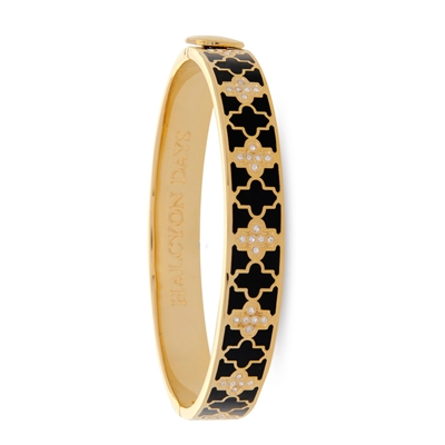 Agama Sparkle Black & Gold Hinged Bangle by Halcyon Days