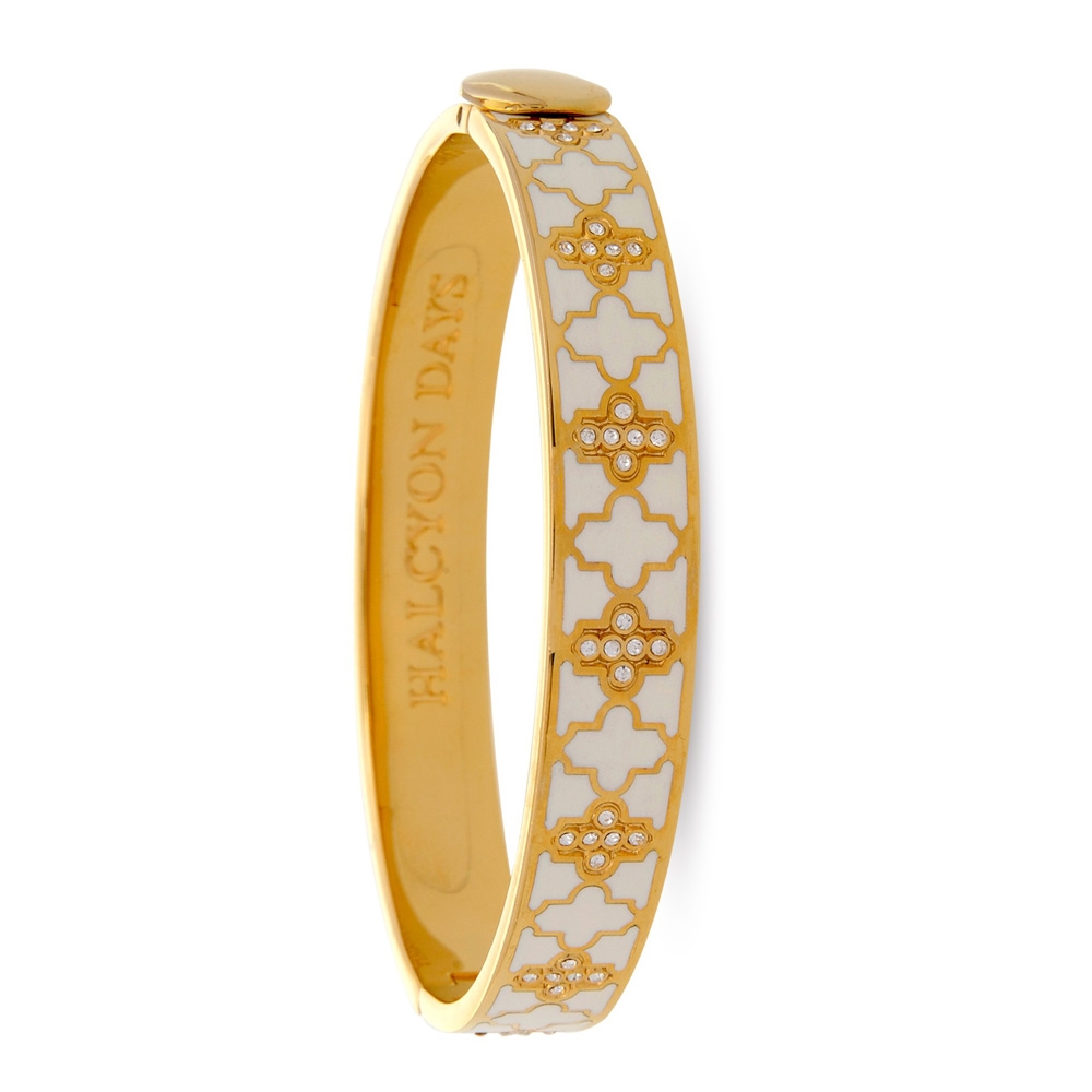 Agama Sparkle Cream Gold Hinged Bangle By Halcyon Days