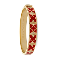 Agama Sparkle Red & Gold Hinged Bangle by Halcyon Days