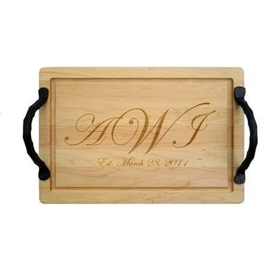 "20"" Personalized Rectangle Wood Cutting Board by Maple Leaf at Home"