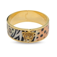 Leopard Animal Print Gold Hinged Bangle by Halcyon Days