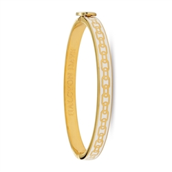 Skinny Chain Cream and Gold Bangle by Halcyon Days