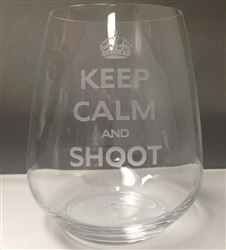 Keep Calm and Shoot Stemless Wine Glass