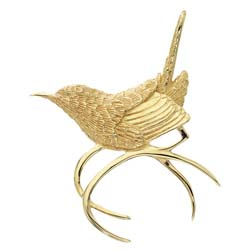 Carolina Wren Pin in Silver & Platinum - Grainger McKoy