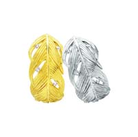 Wide Feather Earrings in Sterling & Platinum Silver by Grainger McKoy
